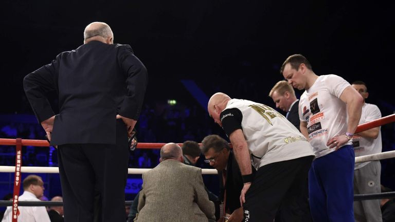 Nick Blackwell receives medical attention. Pic:  Action Images/Adam Holt