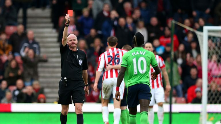 Sadio Mane received his marching orders in the closing stages at the Britannia Stadium