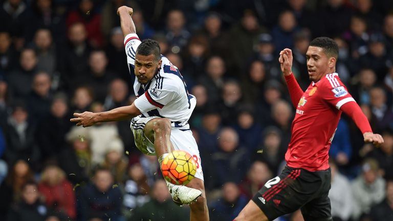 Salomon Rondon (L) has an unsuccessful shot during the English Premier League football match between West Bromwich Albion and Manchester United