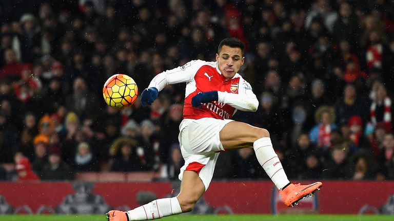 Alexis Sanchez spurns a chance with a miss-kick before taking a shot that rebounds off the far post into the Swansea goalkeeper's gloves