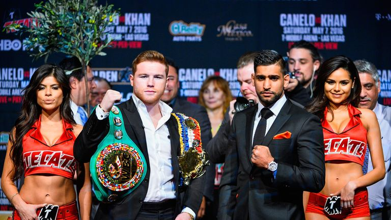 Amir Khan (right) will challenge Saul Alvarez for the WBC belt in Las Vegas later that evening