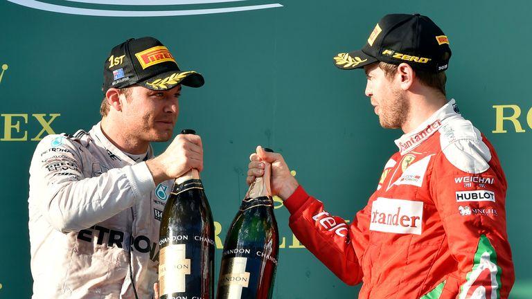 Nico Rosberg (left) won in Melbourne despite a poor start