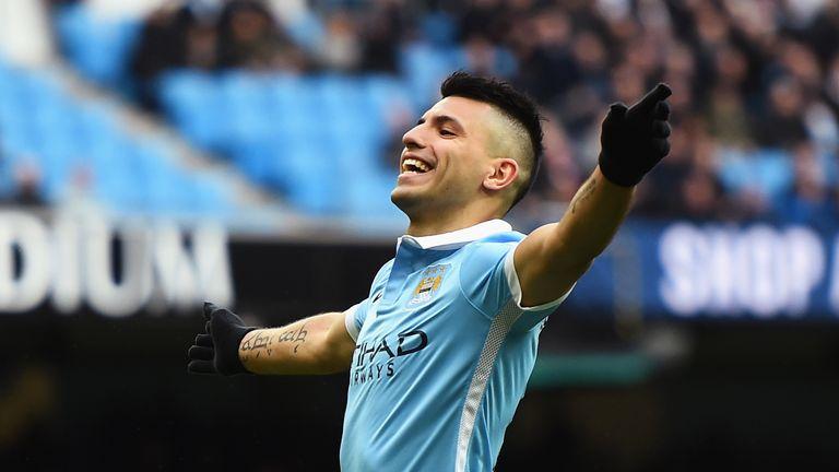 Sergio Aguero of Manchester City celebrates scoring his team's second goal