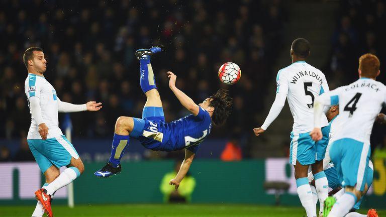 Okazaki scores the winner against Newcastle earlier this month