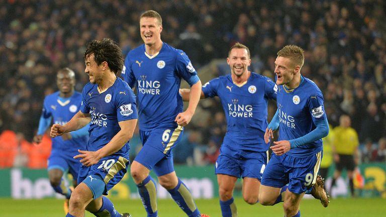 Leicester celebrate a Shinji Okazaki goal