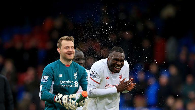 Simon Mignolet, Christian Benteke, victory celeb, Crystal Palace v Liverpool, Premier League
