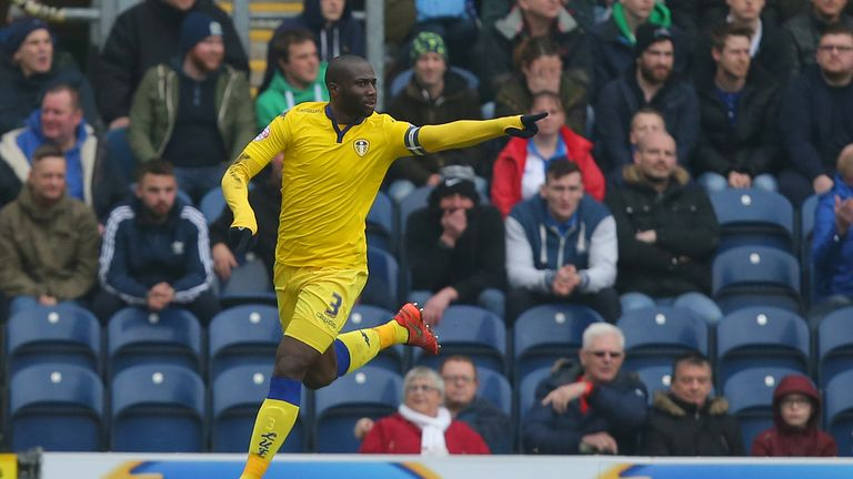 Leeds United's Sol Bamba celebrates scoring his side's first goal of the game