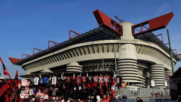 A general view of the Stadio Giuseppe Meazza