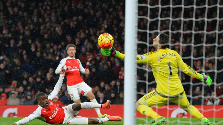 Joel Campbell scores for Arsenal against Swansea