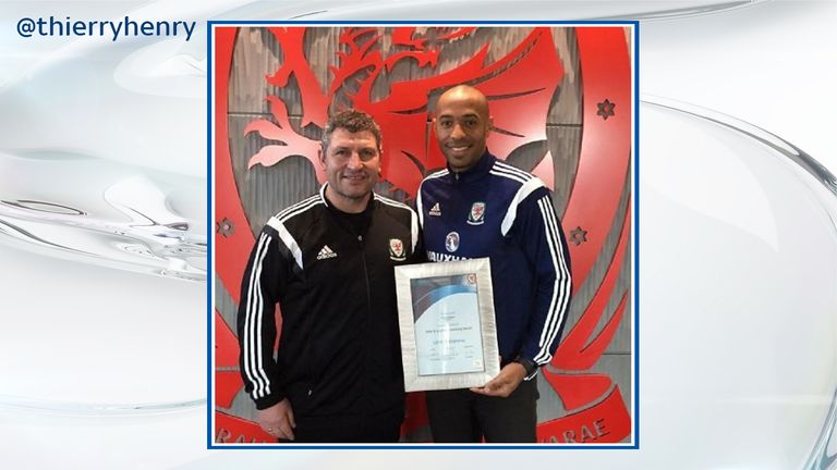 Thierry Henry with UEFA A Licence coaching badge certificate (image via @thierryhenry on Instagram)