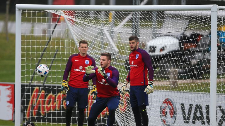 Jack Butland (centre) will start in goal for England at Olympiastadion