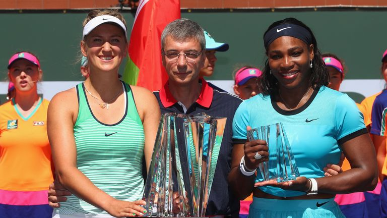 Moore spoke before the women's final at Indian Wells between Victoria Azarenka (left) and Serena Williams (right)
