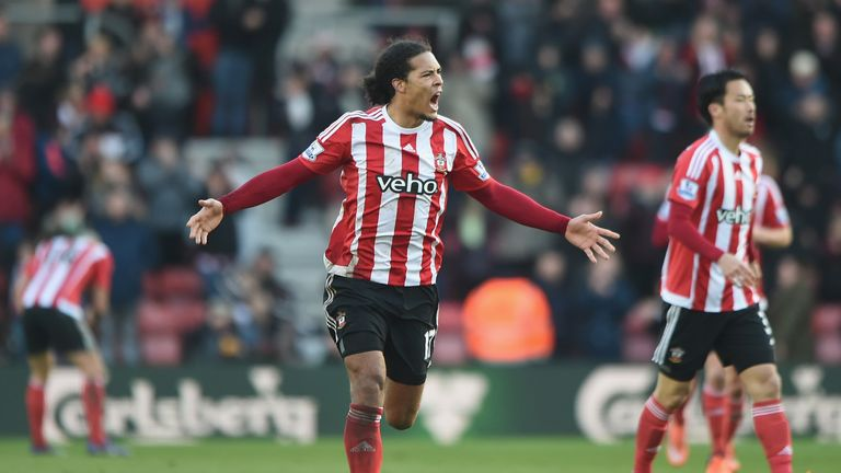 Virgil van Dijk of Southampton celebrates scoring his team's first goal during the Barclays Premier League match between