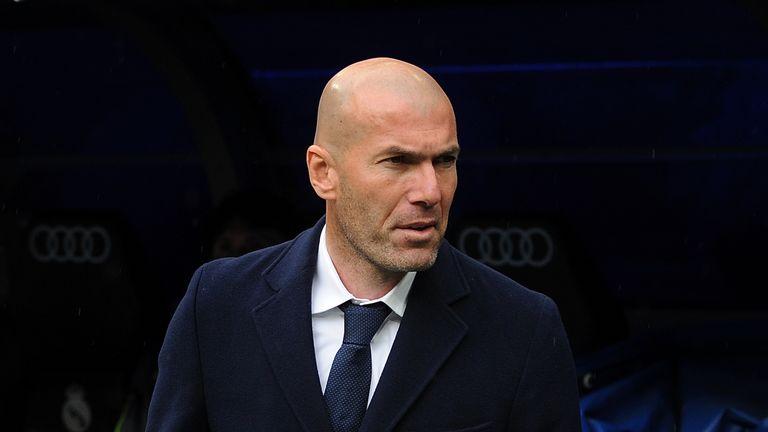 Zinedine Zidane of Real Madrid takes his place on the bench before the La Liga match against Celta Vigo
