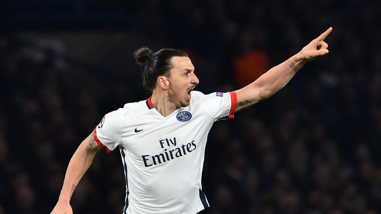 Paris Saint-Germain forward Zlatan Ibrahimovic celebrates scoring his team's second goal against Chelsea