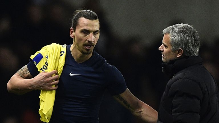 Paris Saint-Germain's Swedish midfielder Zlatan Ibrahimovic speaks with Chelsea's Portuguese manager Jose Mourinho (R)