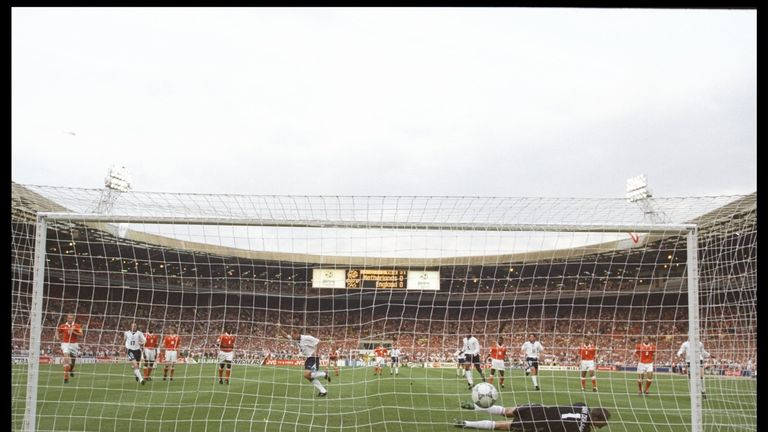 Shearer scores during England's 4-1 victory over Holland