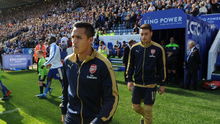 Alexis Sanchez and Mesut Ozil of Arsenal