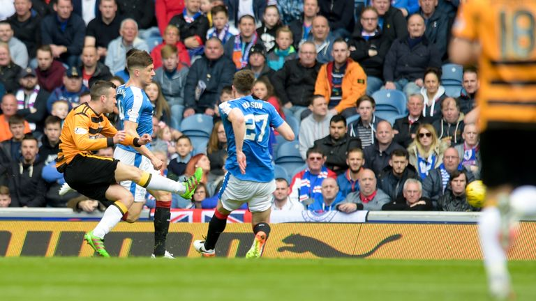 Michael Duffy fires Alloa in front at Ibrox