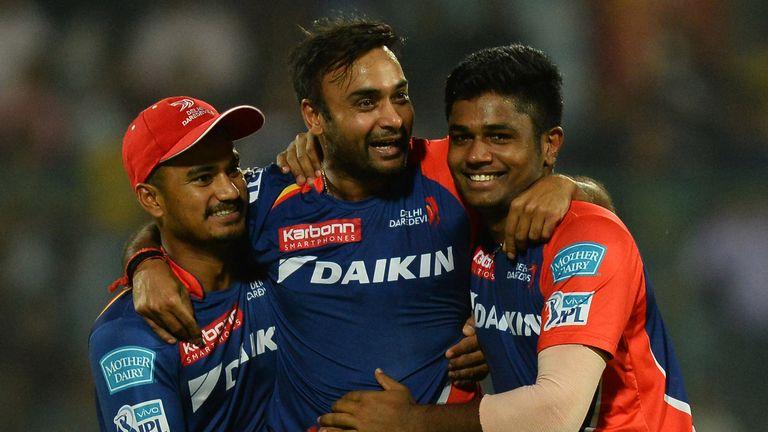 Delhi Daredevils bowler Amit Mishra (c) celebrates one of four wickets in the IPL match v Kings XI Punjab