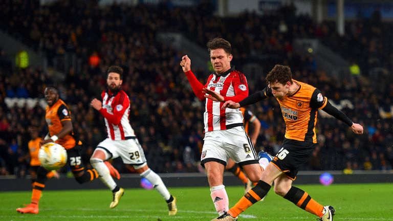 Andrew Robertson of Hull shoots on goal during the match.