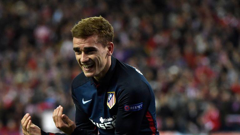 Atletico Madrid's Antoine Griezmann celebrates after scoring