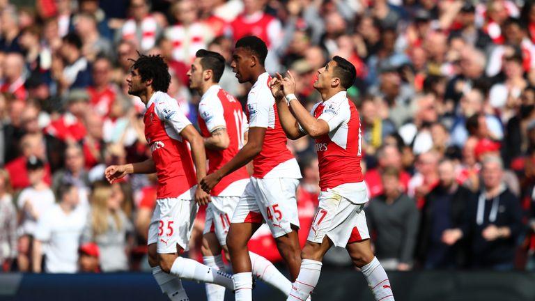 Alexis Sanchez of Arsenal celebrates scoring his team's first goal against Watford