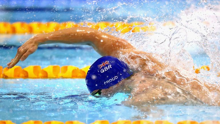 Ben Proud of Great Britain competes in the Men's 50m Freestyle Final on day six of the British Swimming Championships
