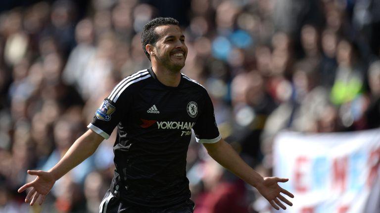 Chelsea midfielder Pedro celebrates after scoring his second goal