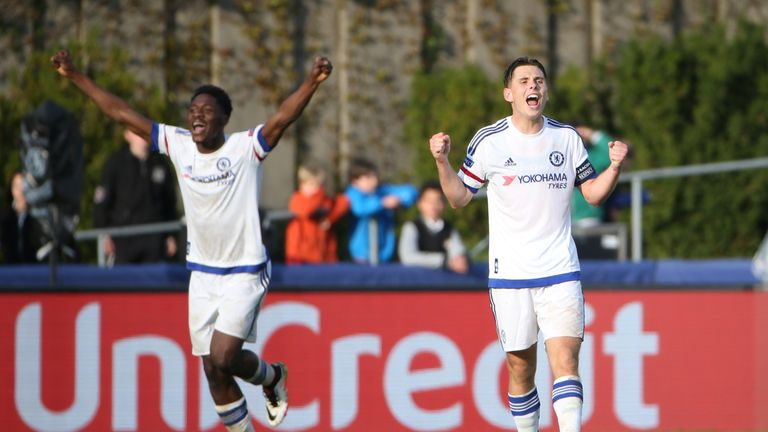 Charlie Colkett (R) leads the Chelsea celebrations as the full-time whislte sounds in Nyon