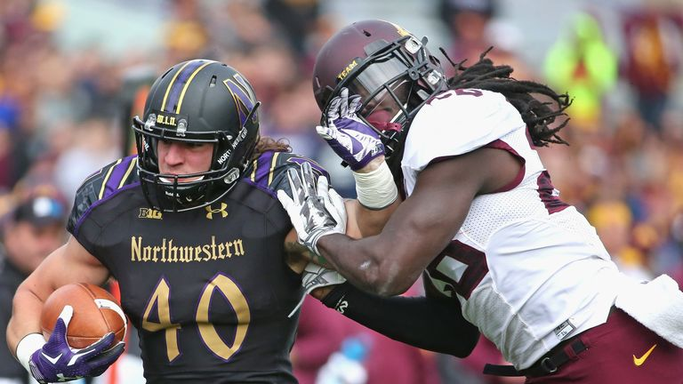 Dan Vitale #40 of the Northwestern Wildcats hopes to be selected at the 2016 NFL Draft