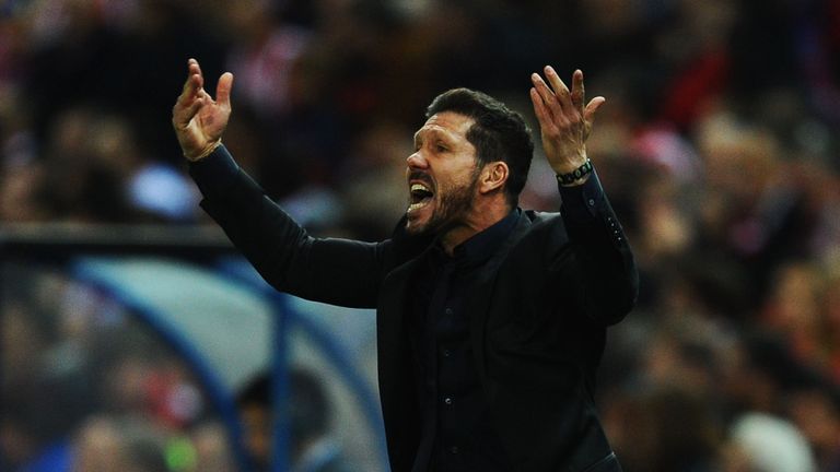 Diego Simeone head coach of Atletico Madrid reacts during the UEFA Champions League semi final first leg match v Bayern Munich