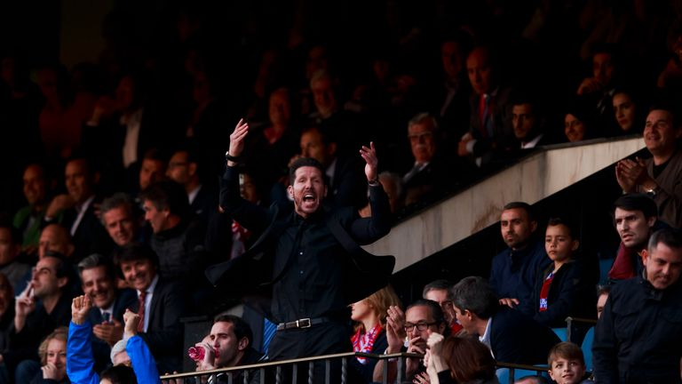 Diego Simeone watched the second half from the stands
