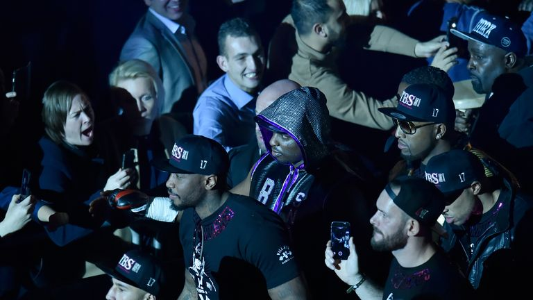 Dillian Whyte (centre) wished Hughie well in his recovery