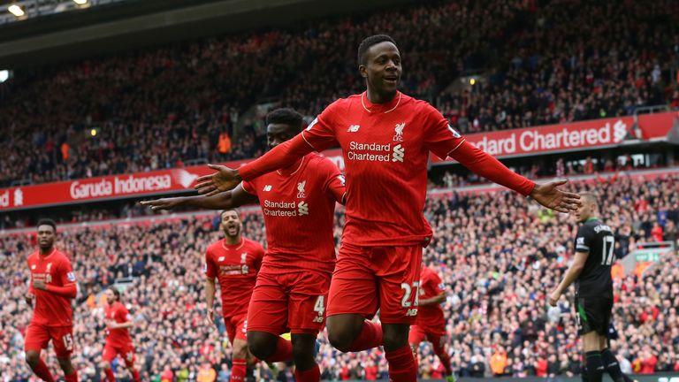 Liverpool's Divock Origi celebrates scoring his side's third goal of the game