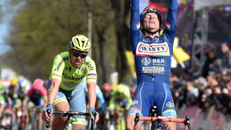Enrico Gasparotto won the Amstel Gold Race ahead of Michael Valgren