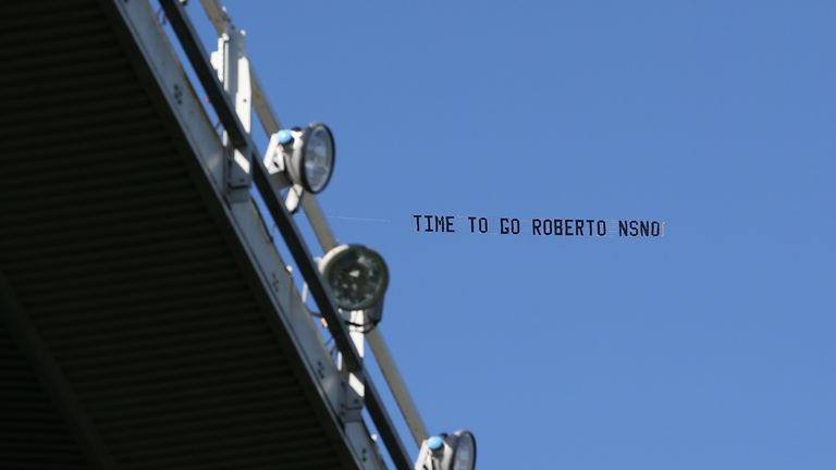 Everton supporters flew a banner from a plane protesting against manager Martinez during their side's win over Bournemouth