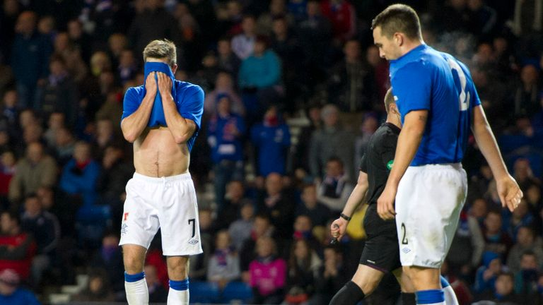 Andrew Little (left) and Chris Hegarty hang their heads as the Inverness CT go 3-0 in front in League Cup.