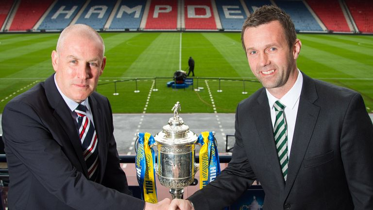 Mark Warburton (left) and Ronny Deila (right) will face each other when Rangers play Celtic in the Scottish Cup