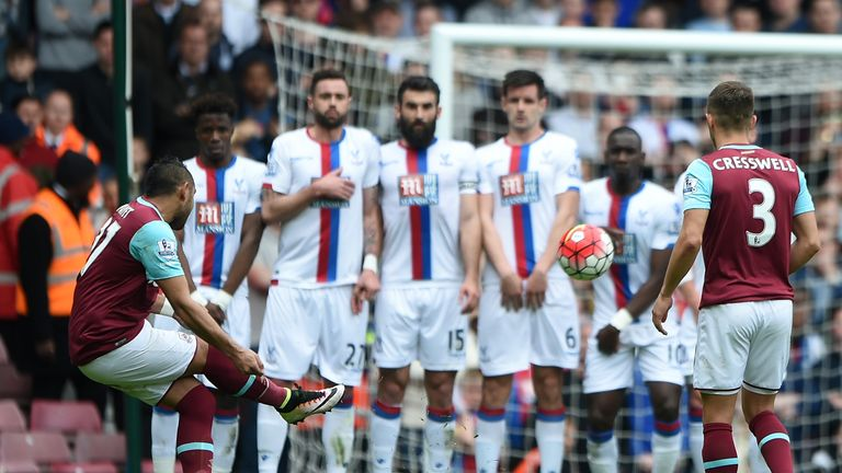 Dimitri Payet of West Ham scores his team's second goal against Crystal Palace