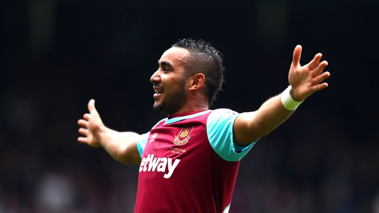Dimitri Payet of West Ham celebrates scoring his team's second goal against Crystal Palace