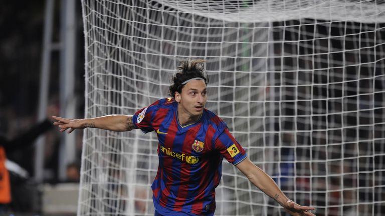 Barcelona's Swedish forward Zlatan Ibrahimovic celebrates his goal against Real Madrid