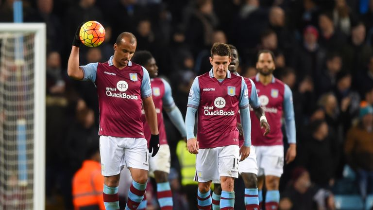Gabriel Agbonlahor and Ashley Westwood of Aston Villa show their frustration after Everton's third goal, March 2016