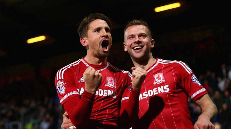 Gaston Ramirez of Middlesbrough (left) celebrates his goal