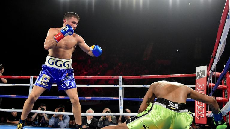Gennady Golovkin knocks down Dominic Wade for the second time on his way to a second-round TKO
