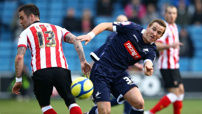 Kane in action for Millwall in an FA Cup tie against Southampton in 2012