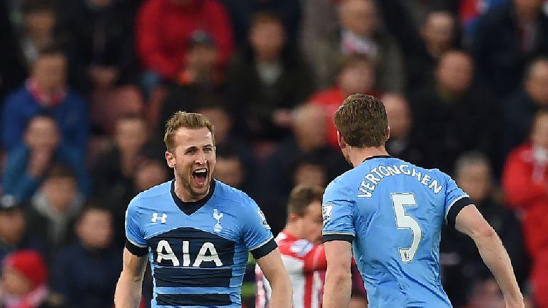 Harry Kane celebrates after scoring Spurs' opener at Stoke
