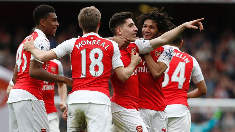 Hector Bellerin celebrates his only goal of the season
