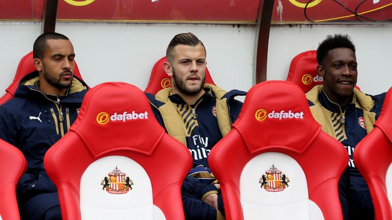 Jack Wilshere was named on the subs' bench at Sunderland but came on for the final eight minutes