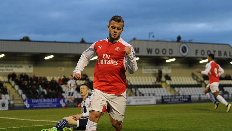 Jack Wilshere celebrates scoring a goal for Arsenal during the match between Arsenal U21 and WBA